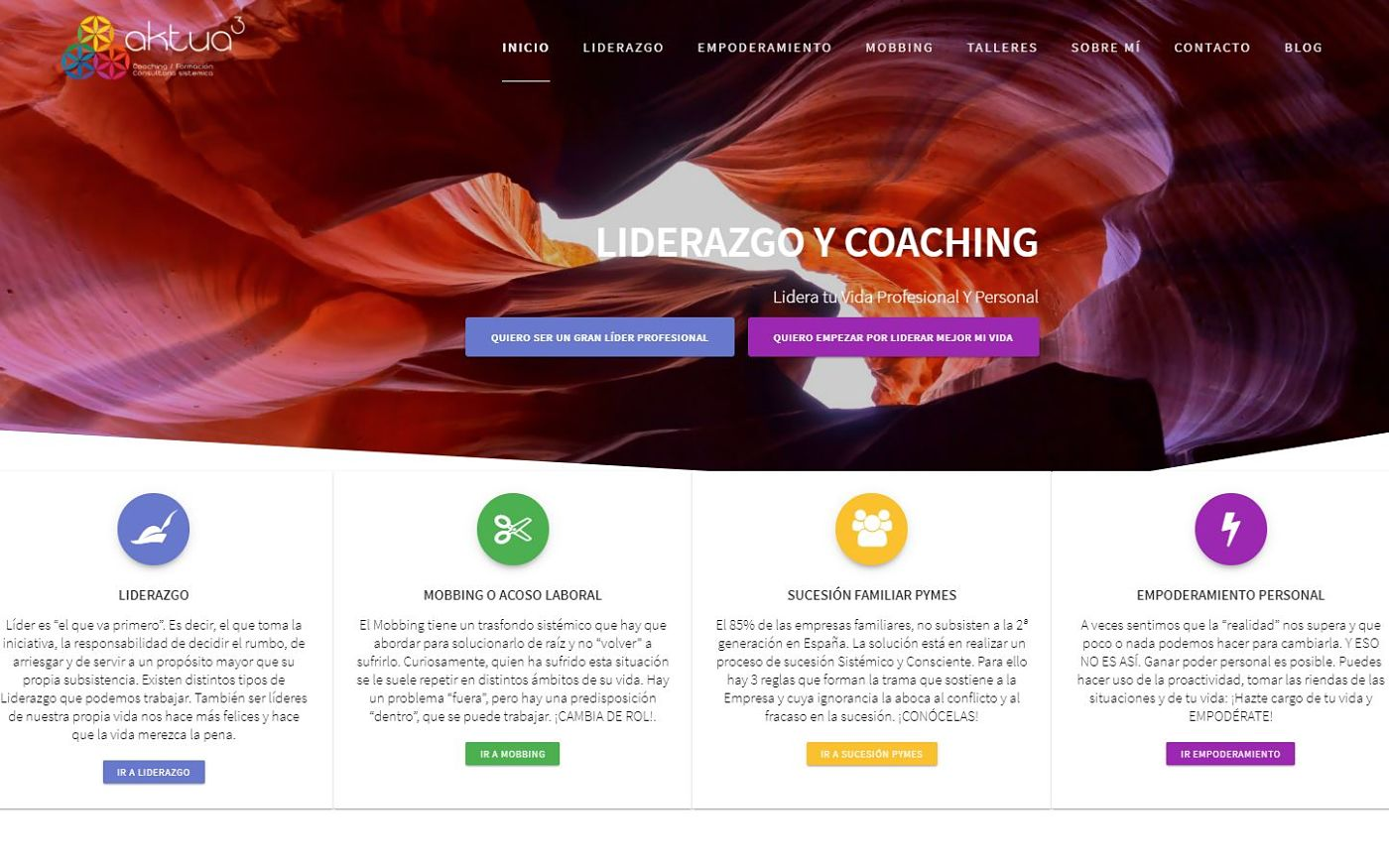 página web para coach liderazgo