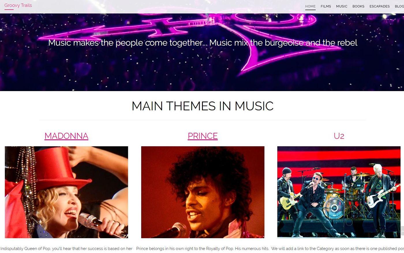 diseño web para blog música y cina
